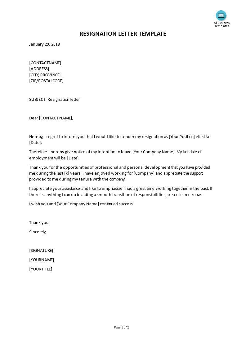 Sample Templates Resignation Letter