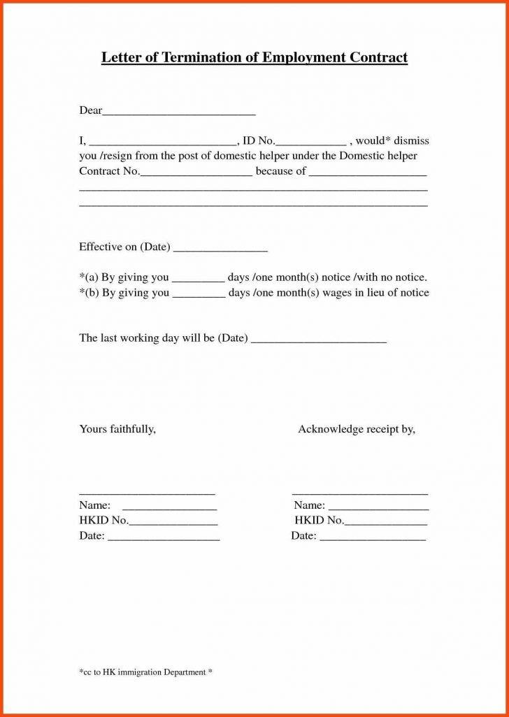 Sample Termination Of Employment Letter Format