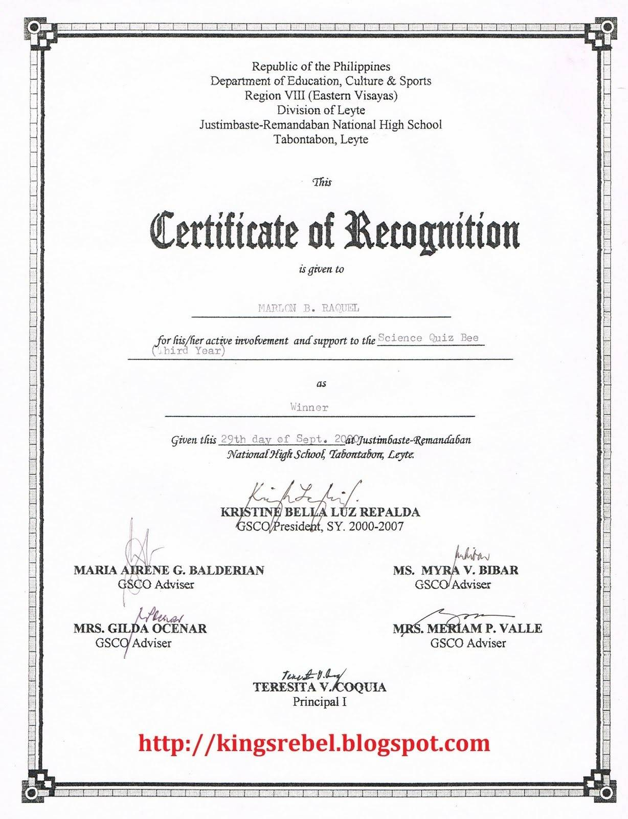 Sample Text For Certificate Of Appreciation