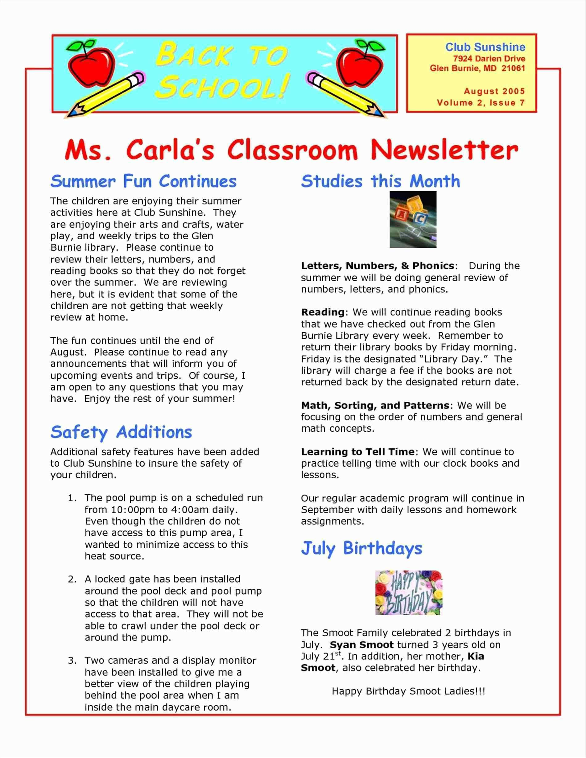 School Newsletter Templates Word
