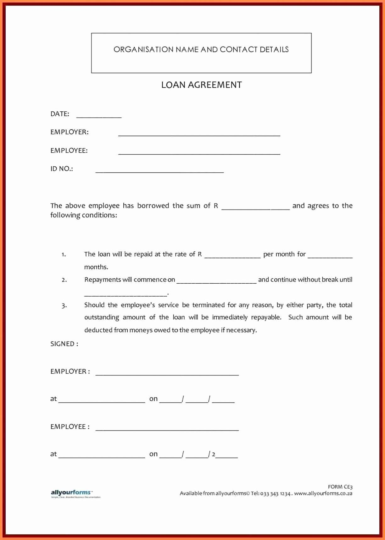 Secured Car Loan Document Template