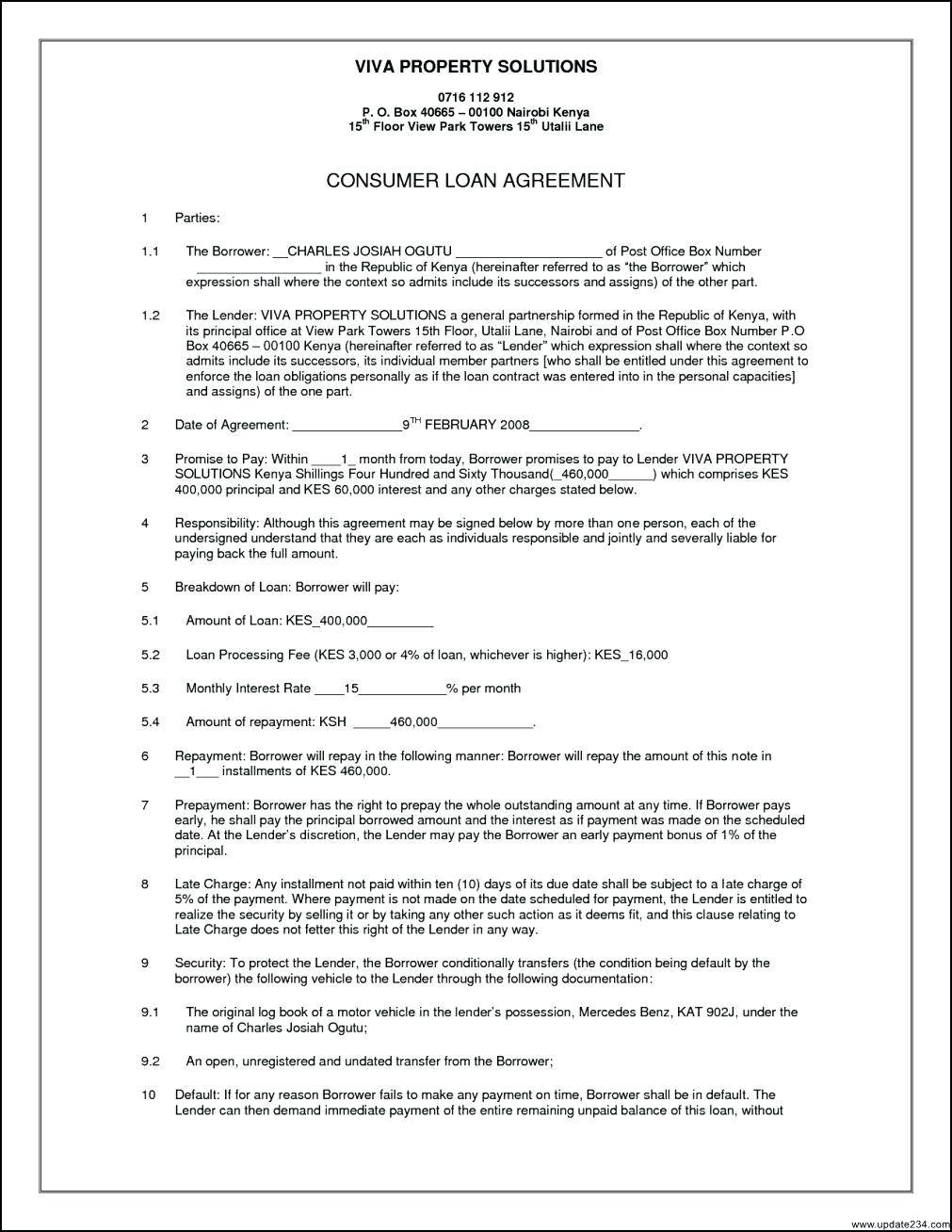 Secured Loan Agreement Template Australia
