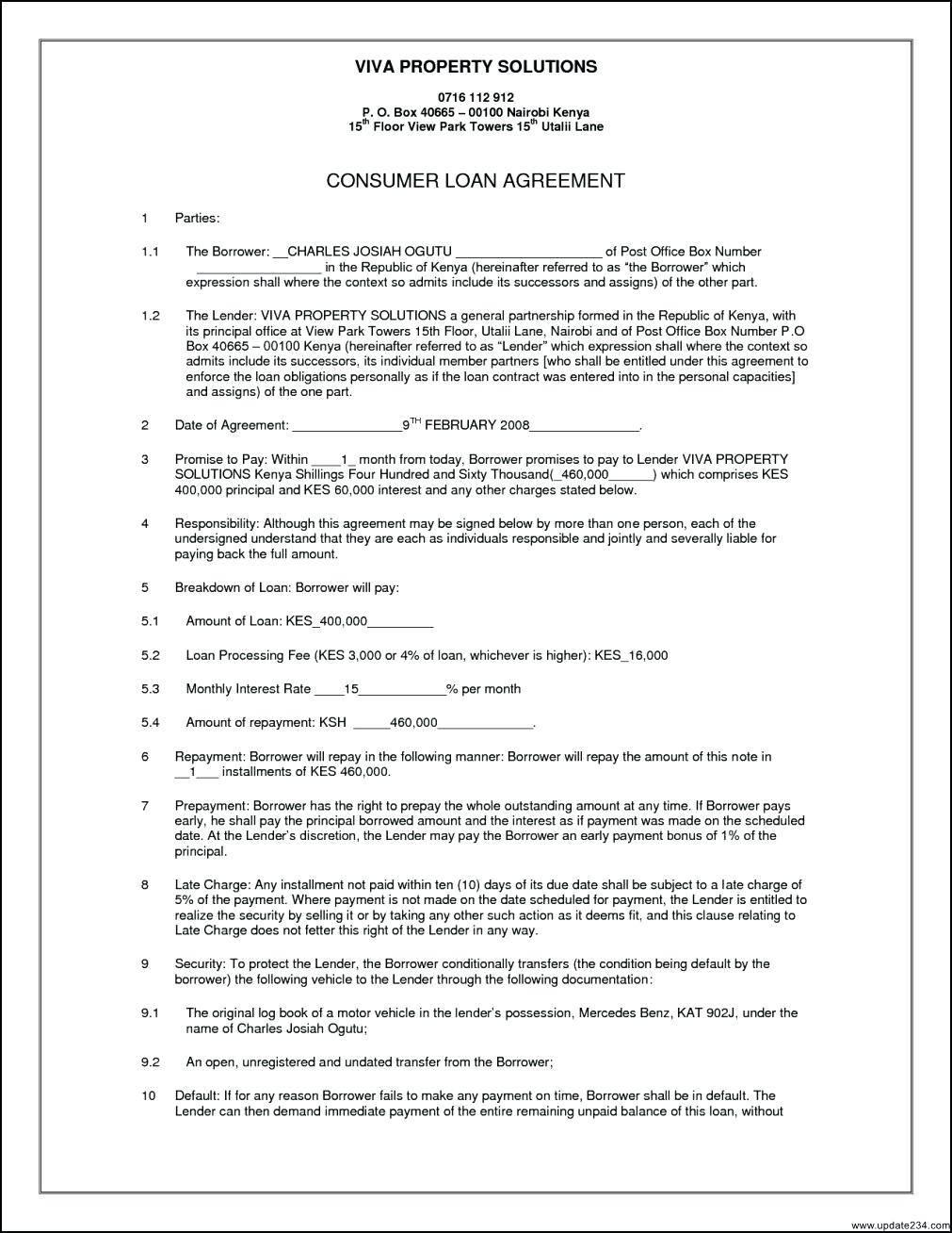 Secured Loan Agreement Template Australia