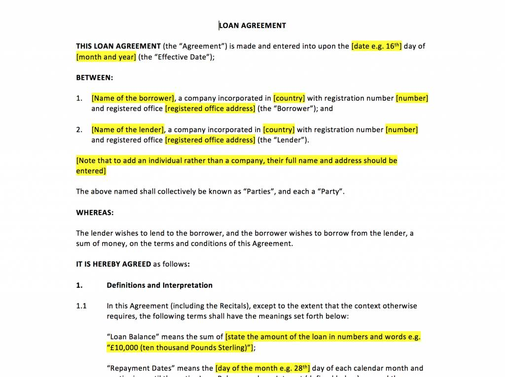 Secured Loan Agreement Template South Africa