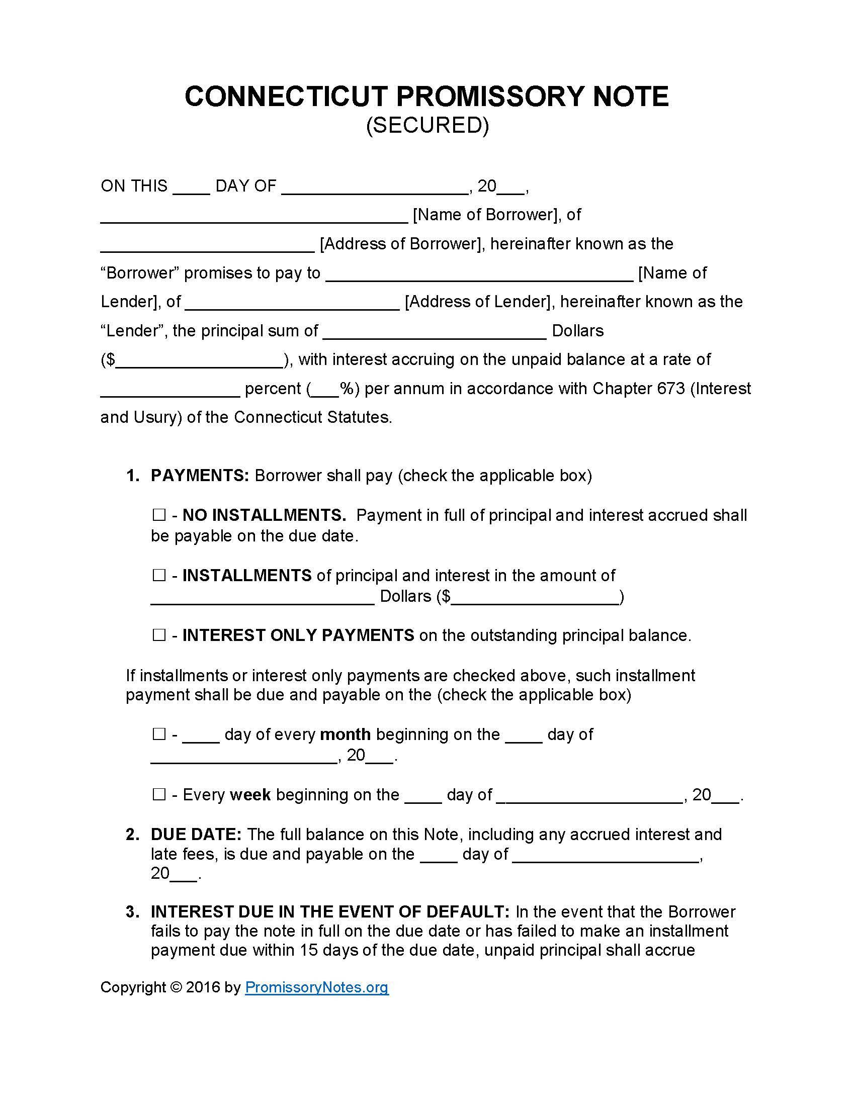 Secured Promissory Note Word Template