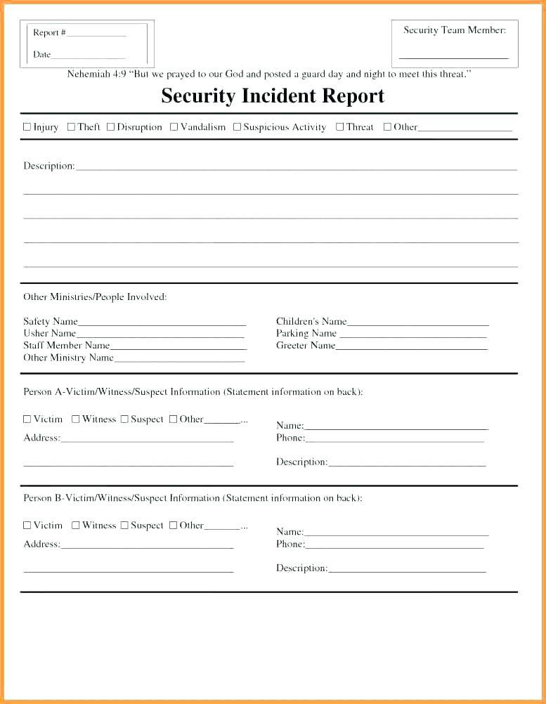Security Guard Incident Report Format