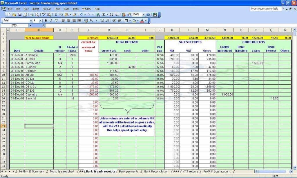 Self Employed Accounts Spreadsheet Template Free
