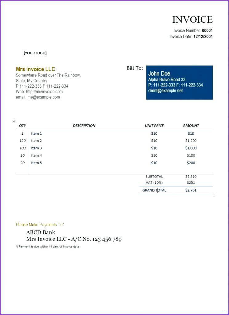 Self Employment Invoice Template Uk