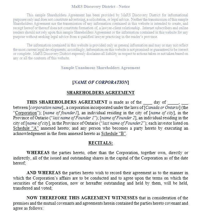 Shareholder Agreement Template Free Uk
