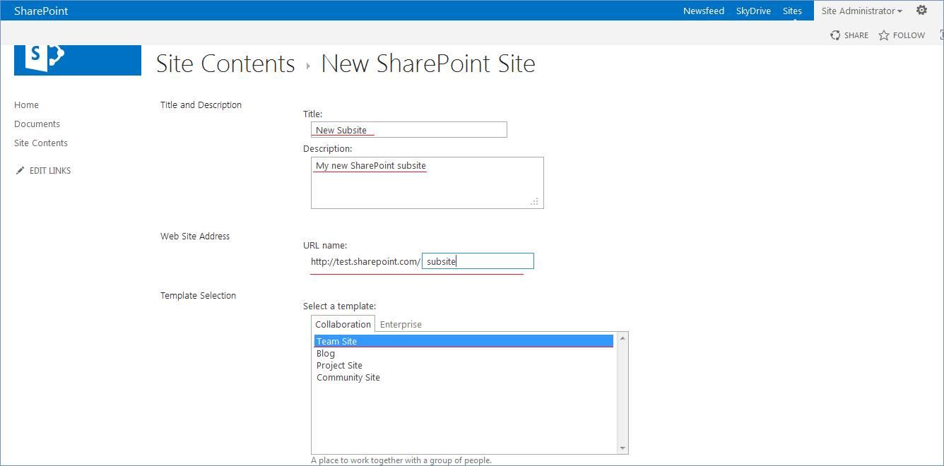 Sharepoint 365 Subsite Templates