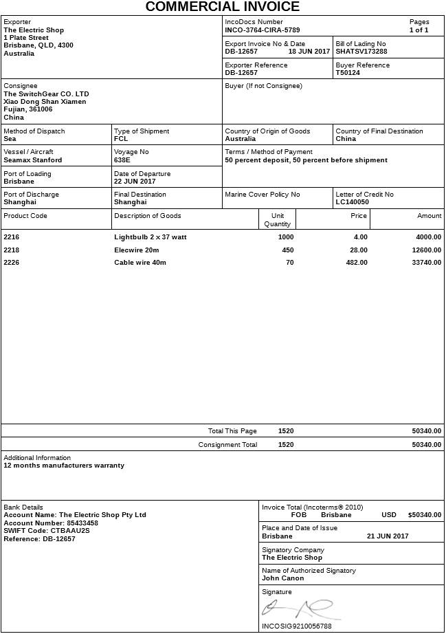 Shipping Invoice Template Uk