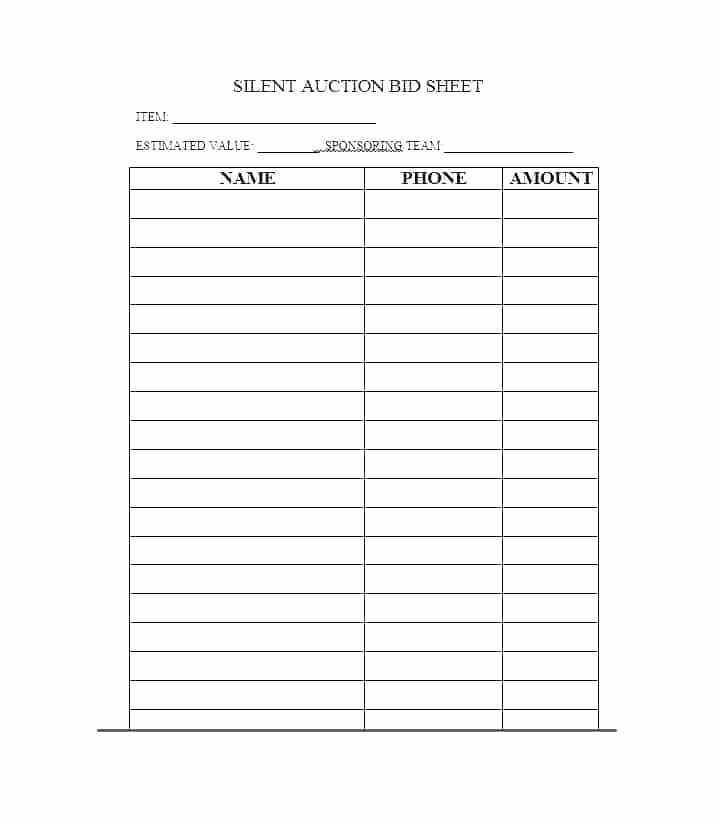 Silent Auction Spreadsheet Template