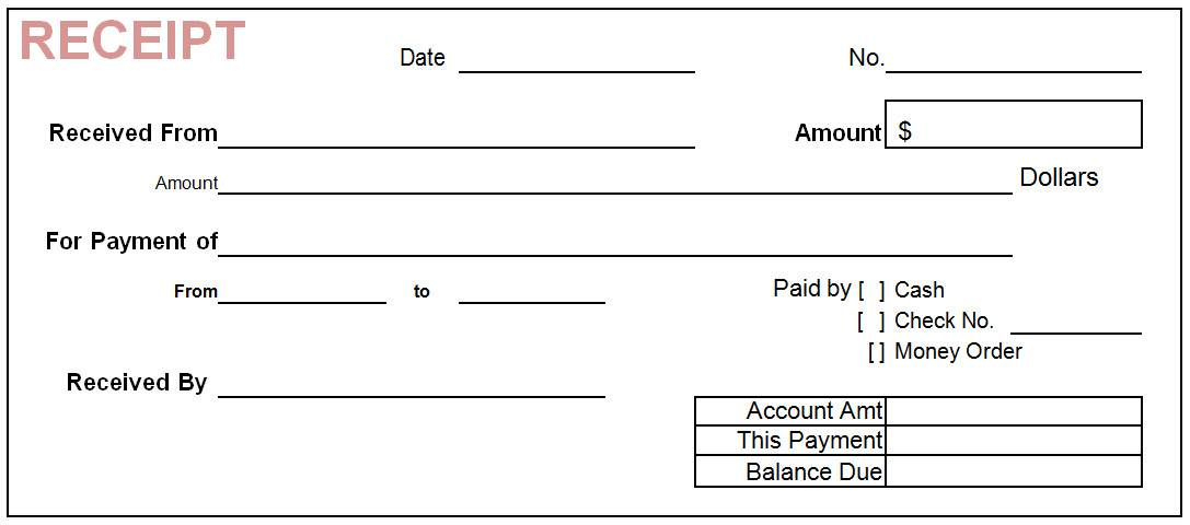 Simple Cash Receipt Template Word