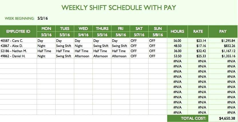 Simple Continental Rotating Shift Schedule Template