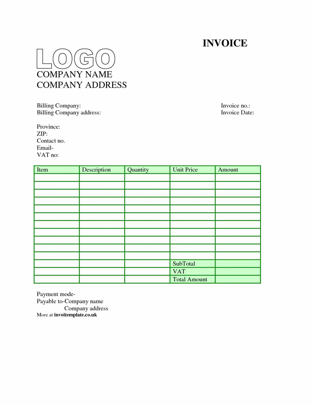 Simple Downloadable Invoice Template