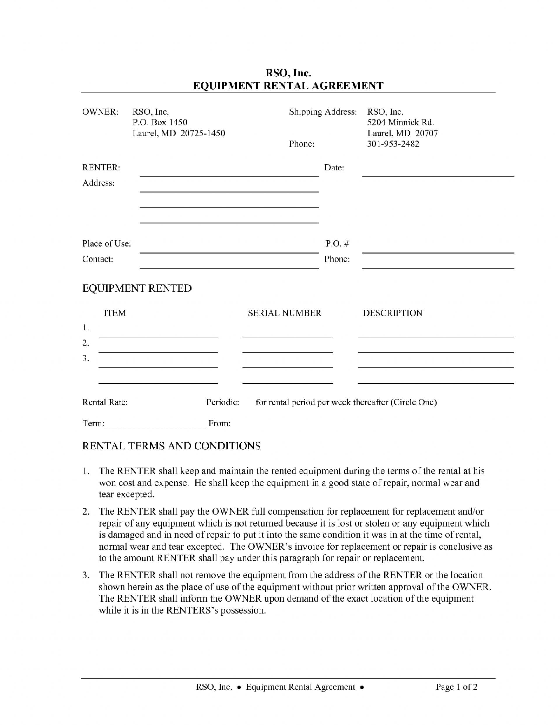 Simple Equipment Rental Contract Template