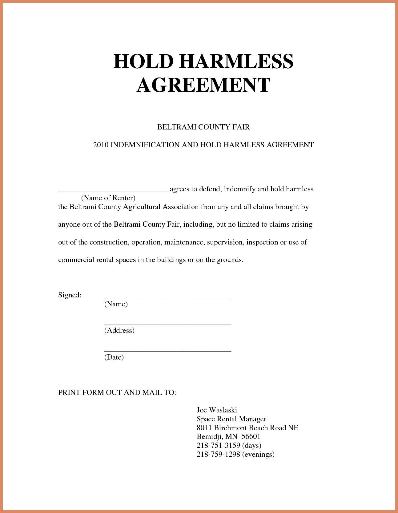 Simple Hold Harmless Agreement Form