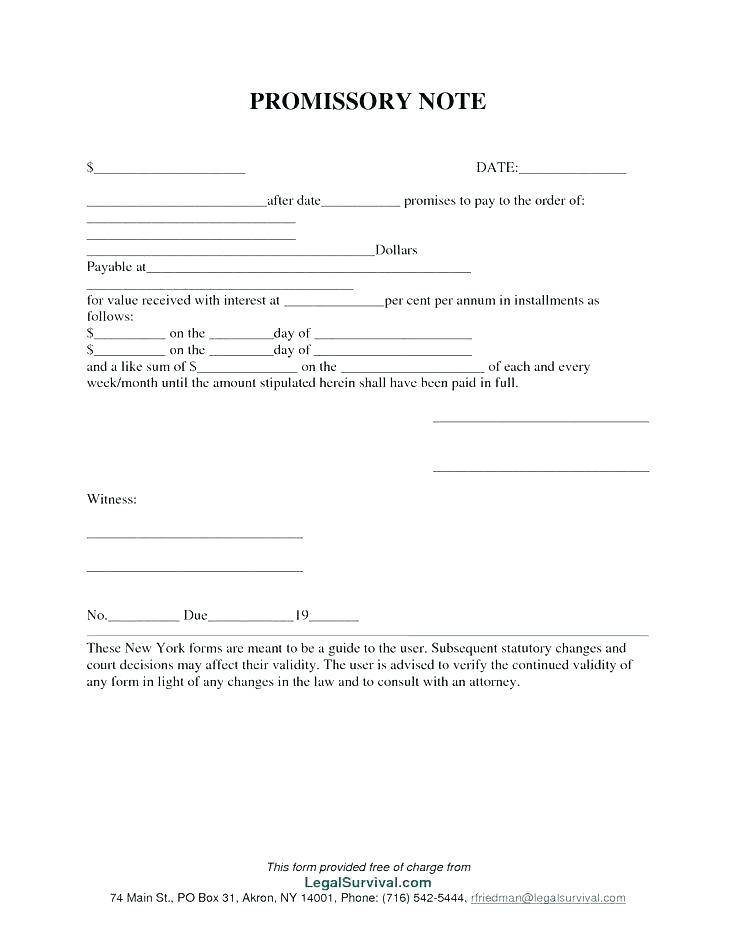 Simple Interest Promissory Note Form