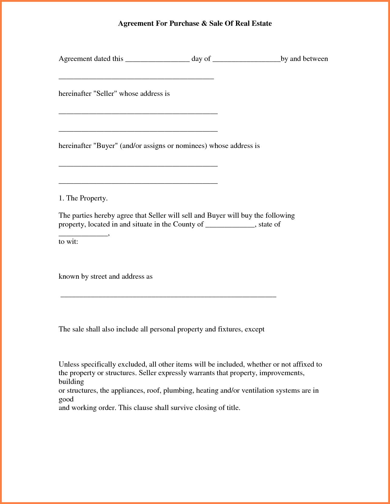 Simple Land Purchase Agreement Template