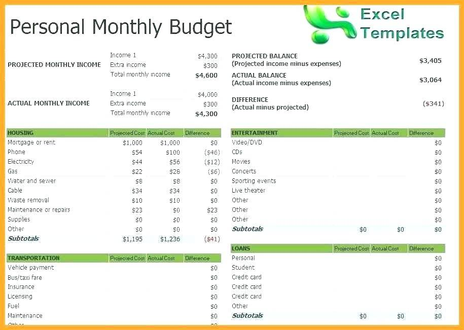 Simple Monthly Budget Sheet Template