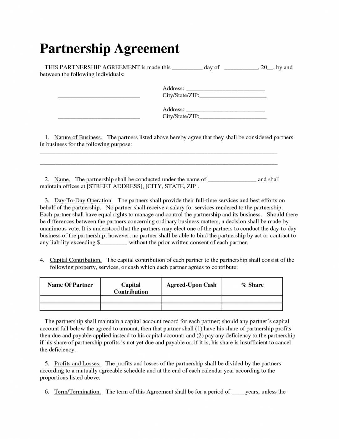 Simple Partnership Agreement Template Doc Templates