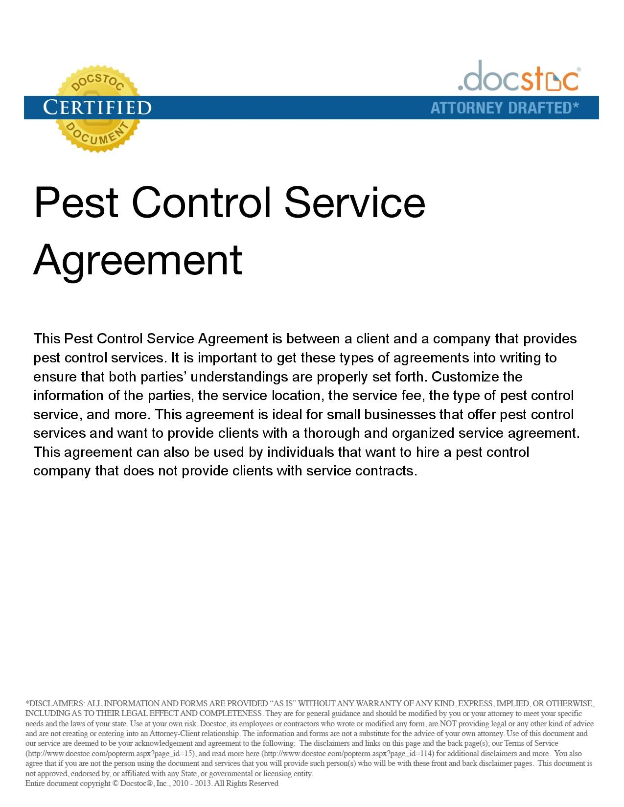 Simple Pest Control Contract Template