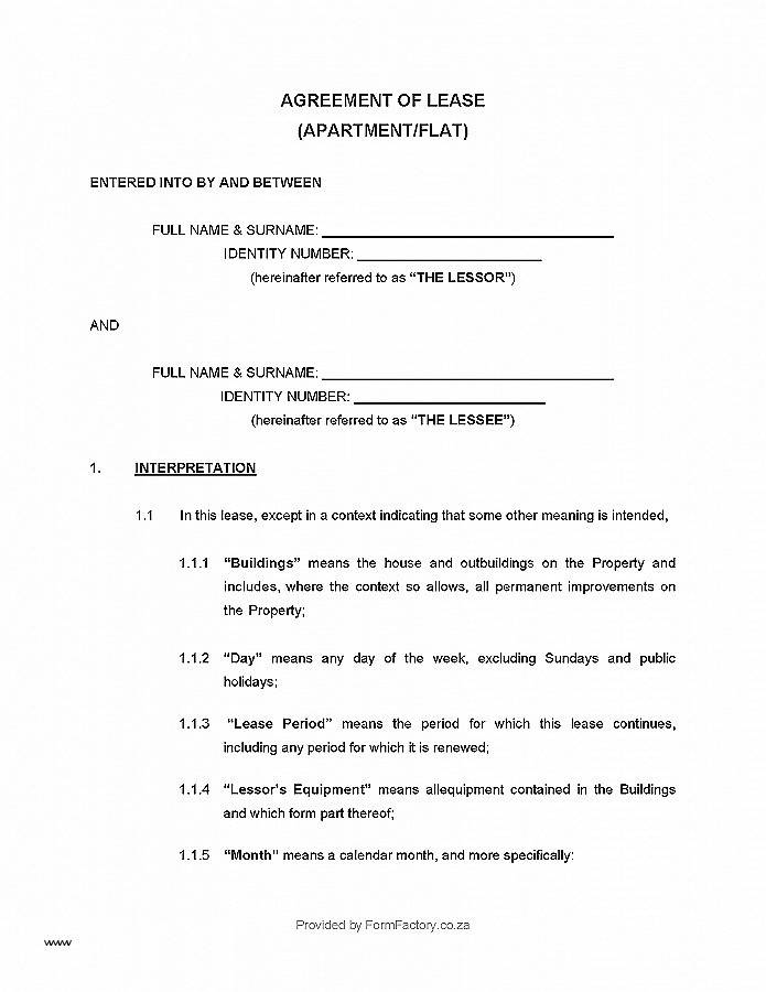 Simple Rental Agreement Template South Africa