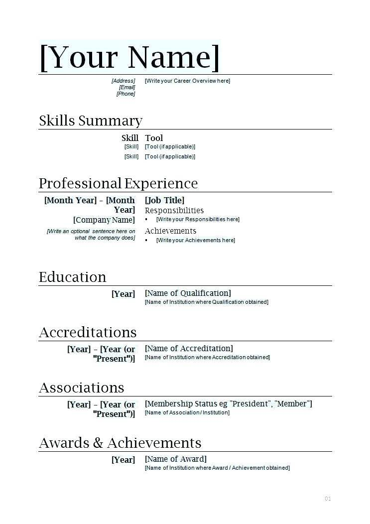 Simple Resume Templates Word Download