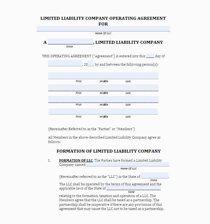 Simple Sample Llc Operating Agreement Template