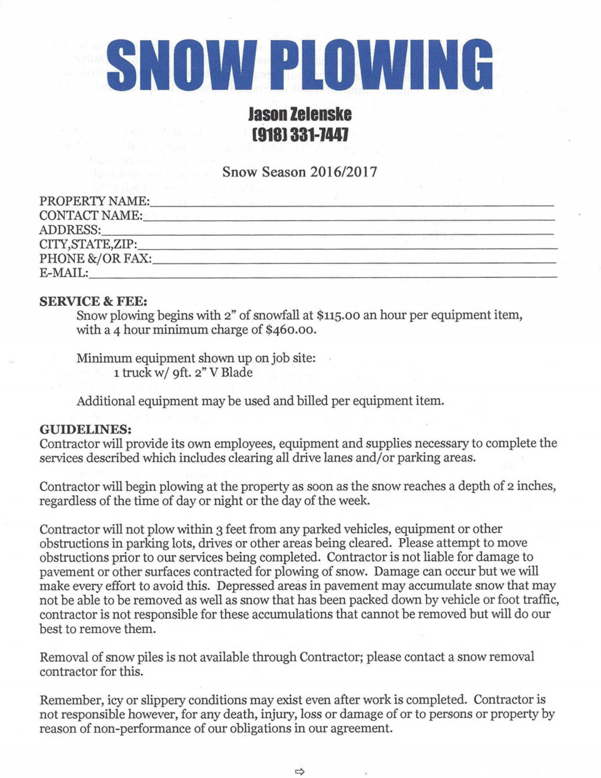 Simple Snow Plow Contract Template
