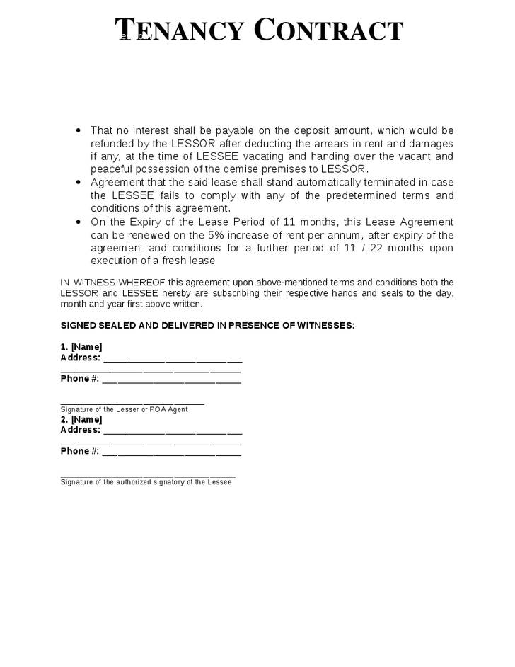 Simple Tenancy Agreement Template Malaysia