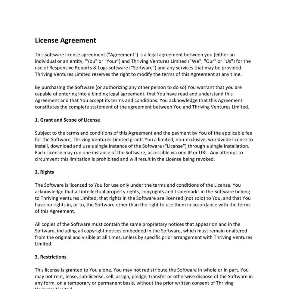 Software License Agreement Template Uk