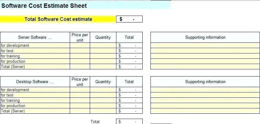 Software Project Cost Estimate Template Xls