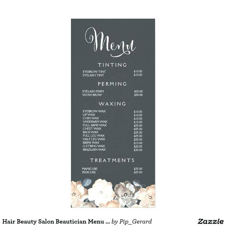 Spa Price Menu Template