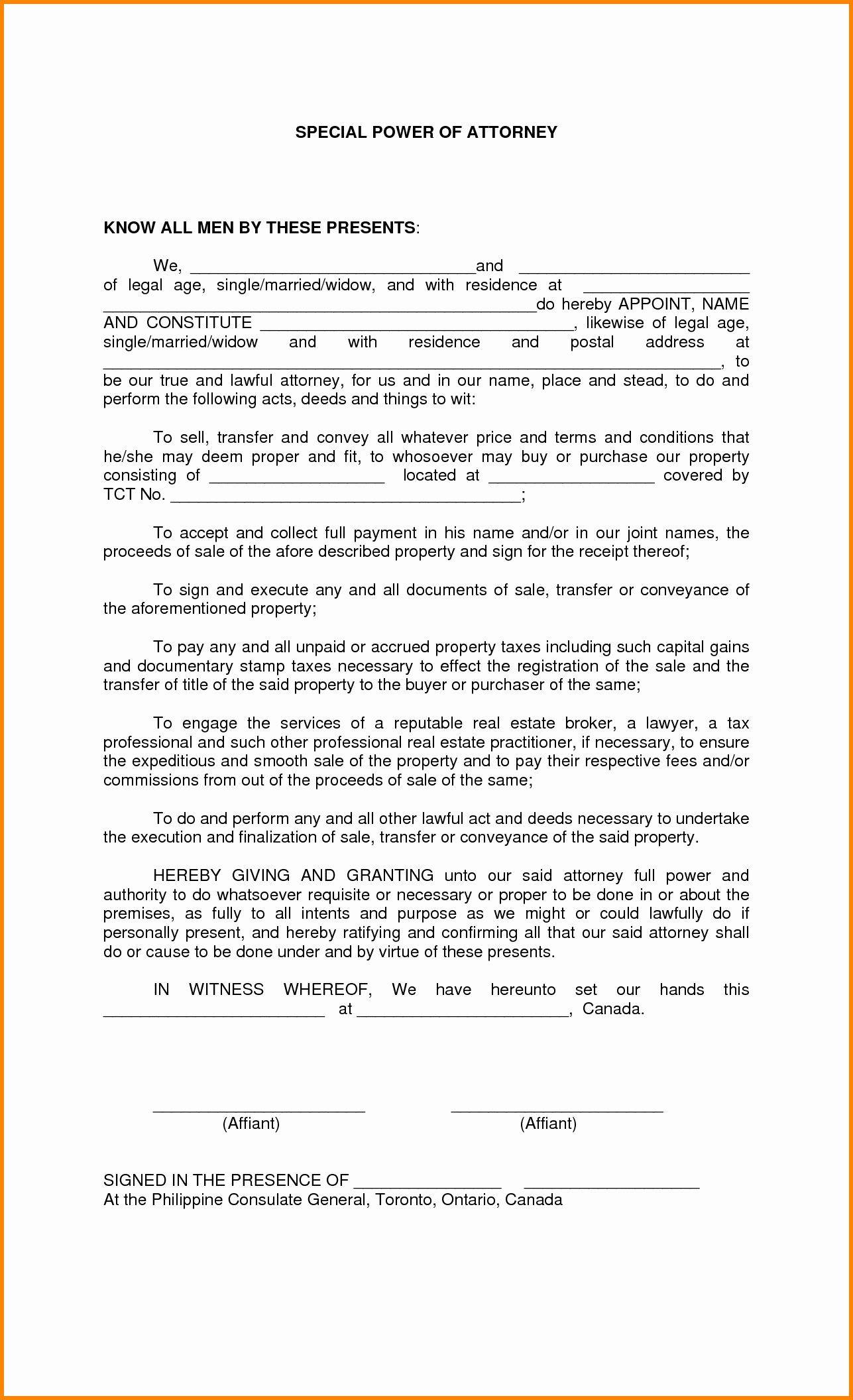Special Power Of Attorney Template Florida