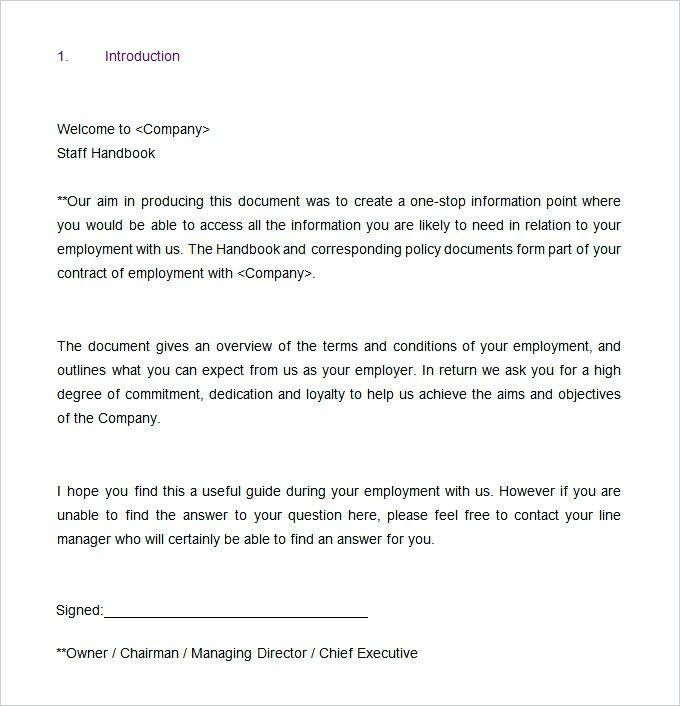 Staff Handbook Template Uk