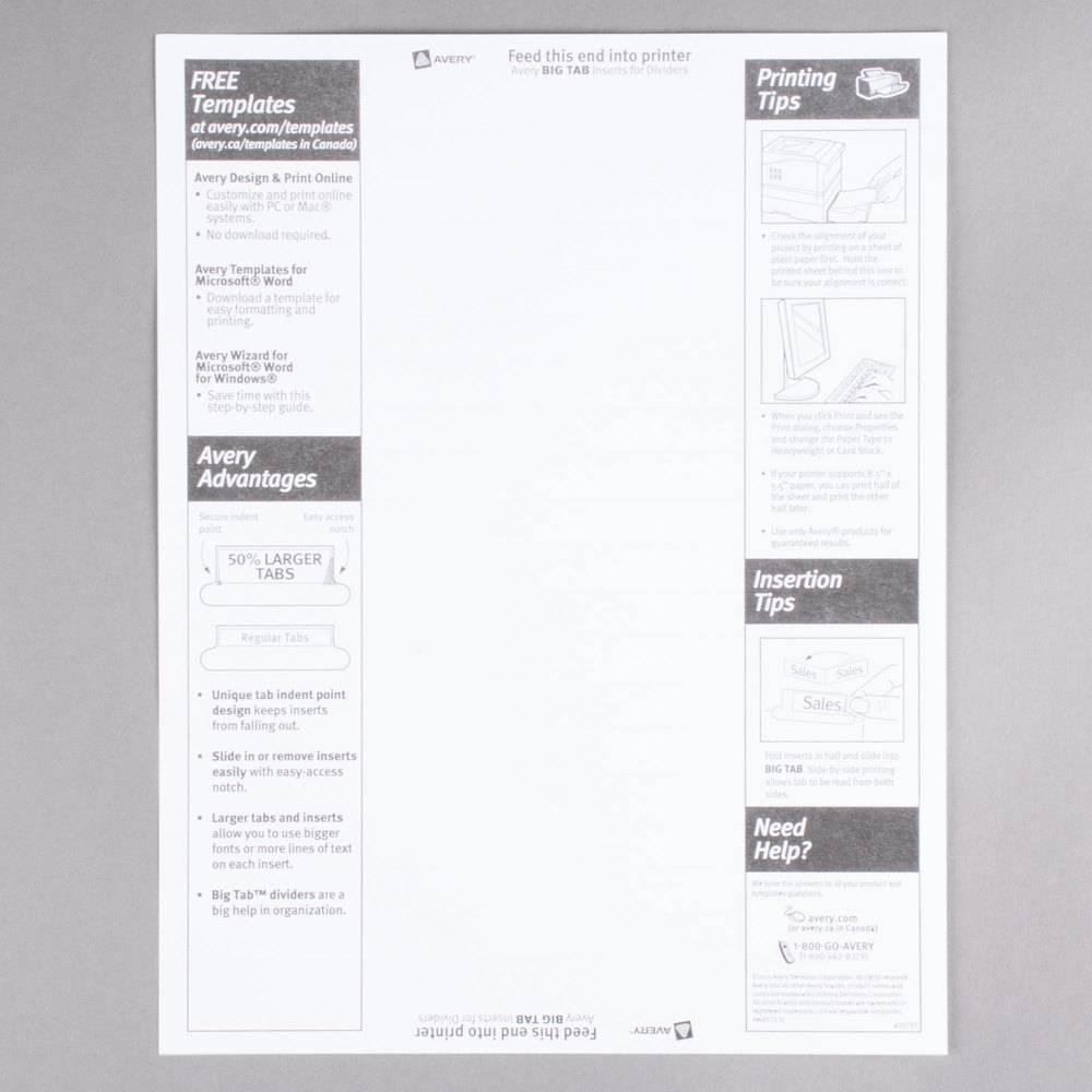 staples 5 large tab insertable divider template. Black Bedroom Furniture Sets. Home Design Ideas