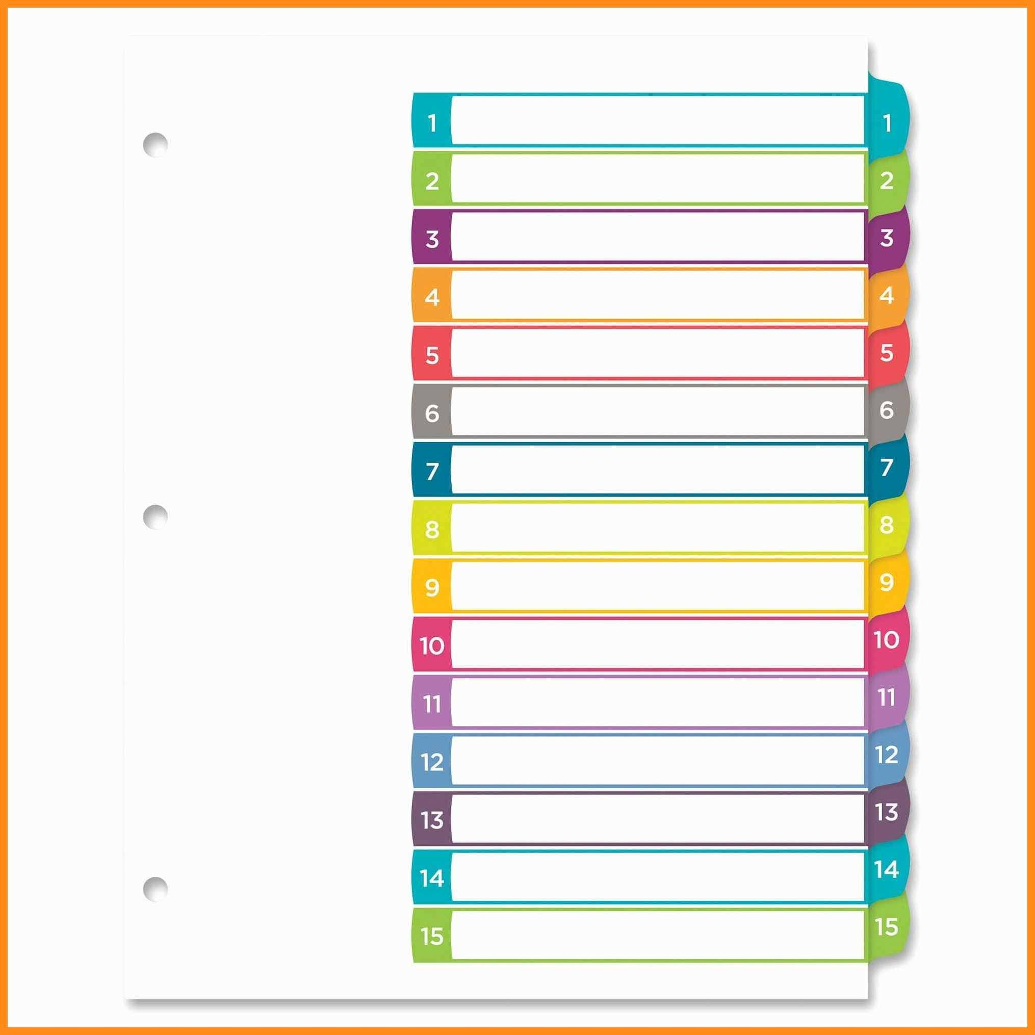 Staples 5 Tab Dividers Template