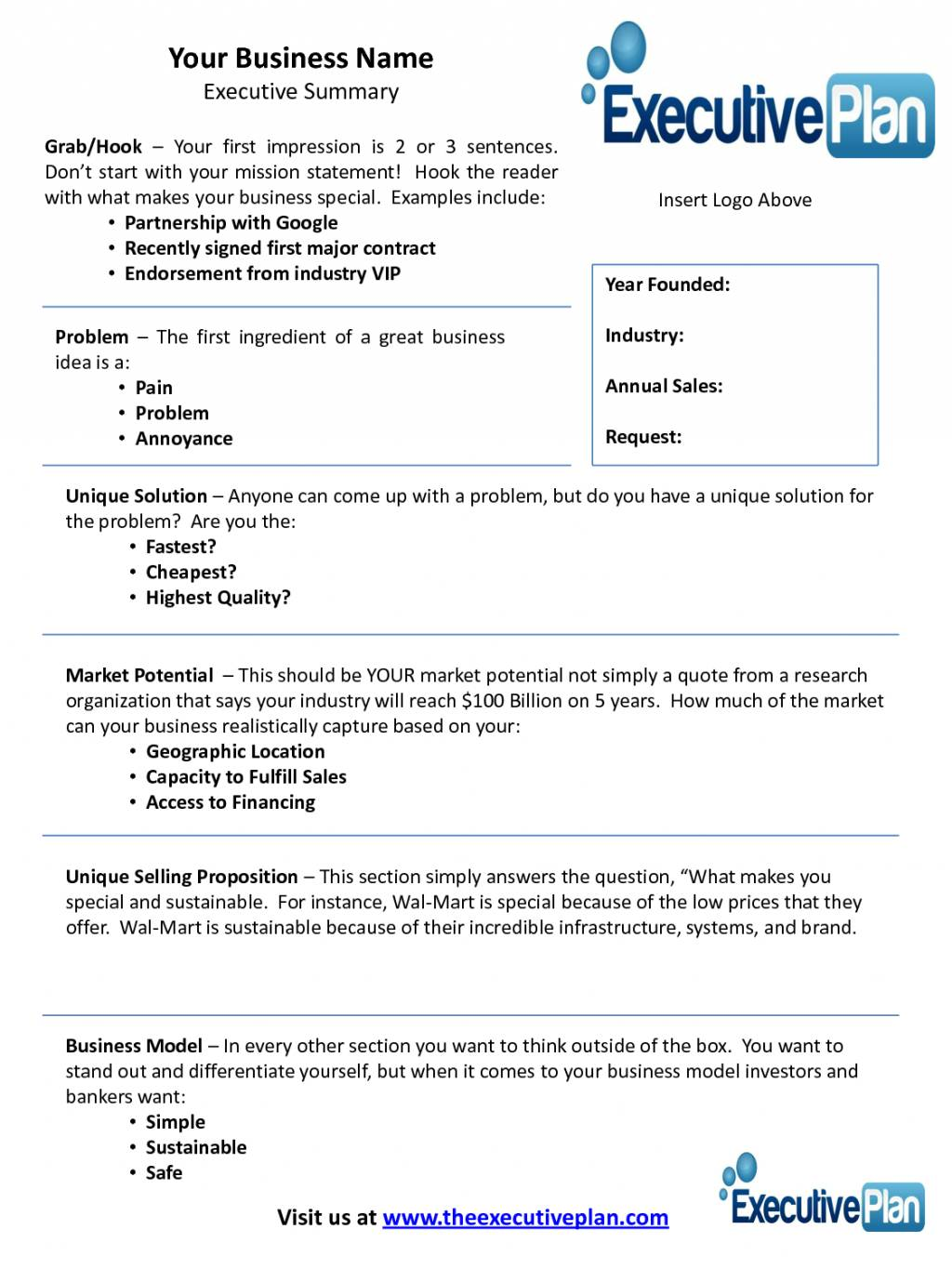 Startup Business Plan Template Word Free