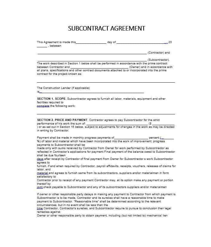 Subcontractor Agreement Template Texas