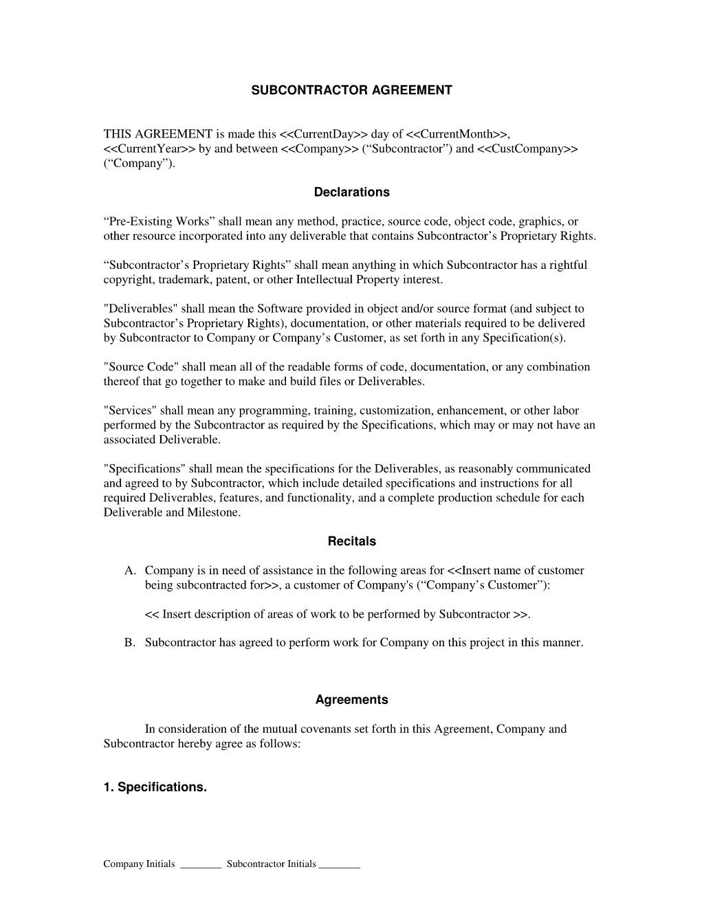 Subcontractor Contract Agreement Form