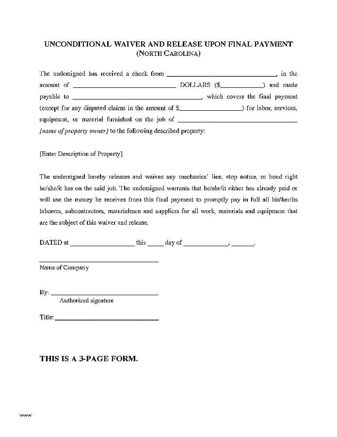 Subcontractor Final Lien Waiver Template