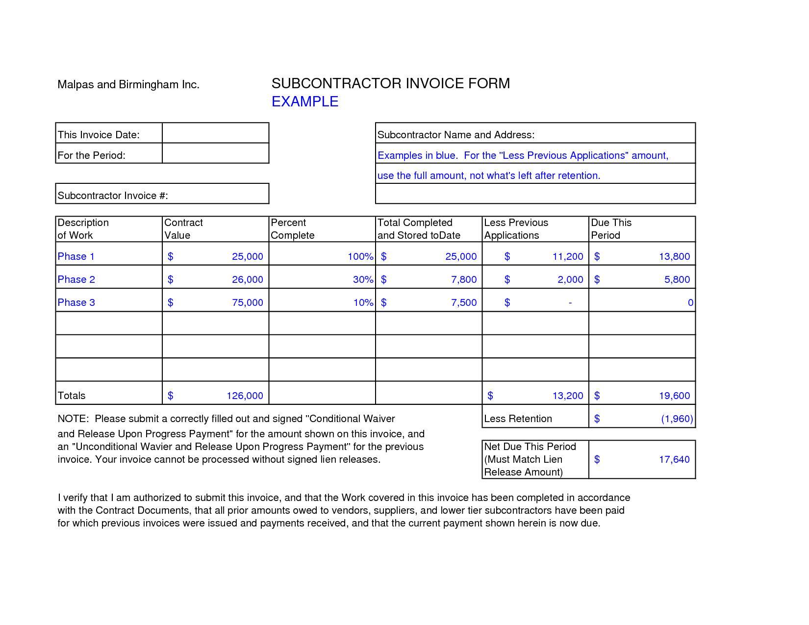 Subcontractor Invoice Template Free