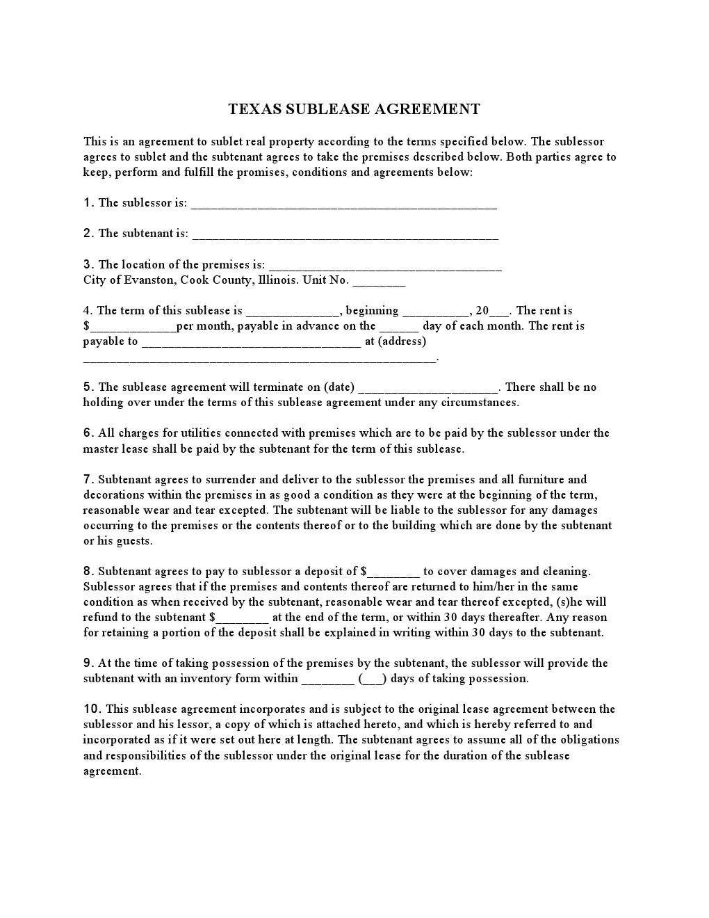 Sublease Template Free