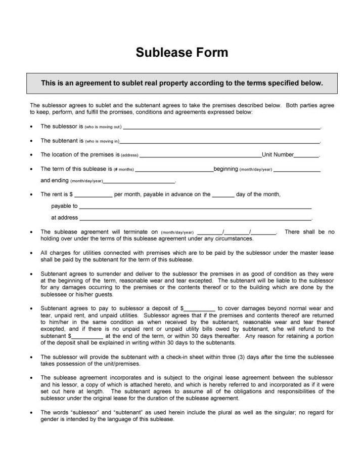Subletting Contract Ireland Template