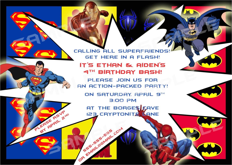 Superhero Birthday Party Invitations Templates Free