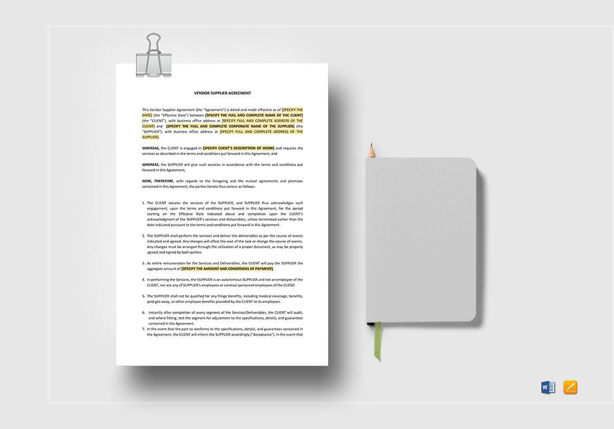 Supplier Agreement Template Word