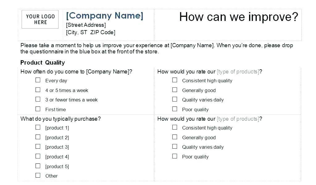 Survey Questionnaire Template Free