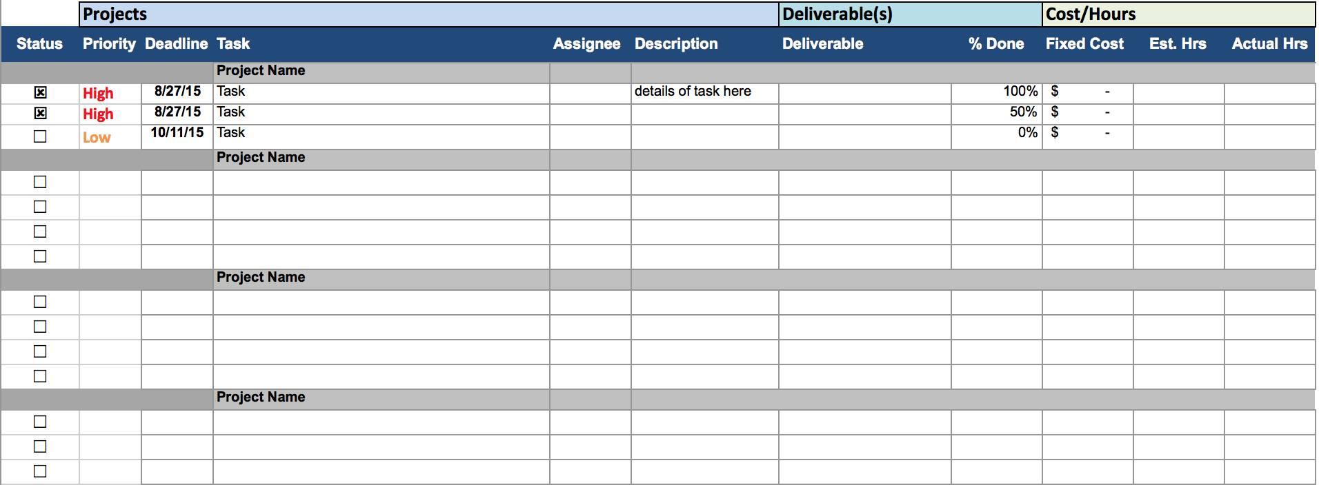 Task Management Excel Spreadsheet Template