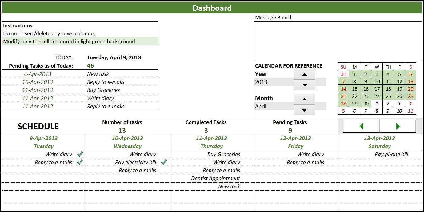 Task Spreadsheet Template Free